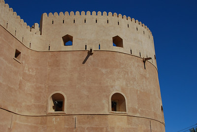 Exterior walls of Hasm Fort, Oman. It was built by Imam Sultan bin Seif II in 1711 A.D. Al Hazm was the capital of Oman instead of Rustaq.  It contains the tomb of its builder and is currently closed for restoration.