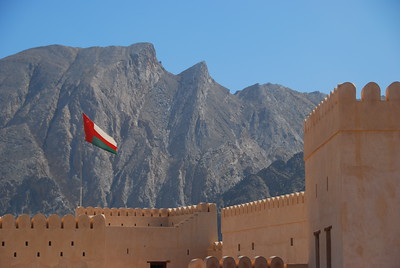 Nakhal Fort with the Hajjar Mountains in the back ground.