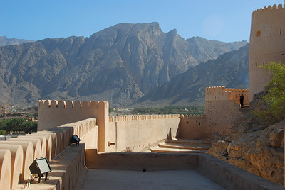 Nakhal Fort towards the Hajjar Mountains.