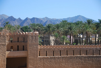 Rustaq Castle in the Al Batinah region of Oman.  The castle was built in the 13th century and was originally known as Qalat Al Kisra.