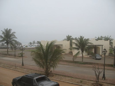 The view from our hotel room.  It was drizzling with low cloud, which after Dubai was a treat.