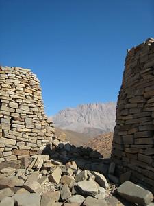 View between tombs looking towards Jebel Misch.