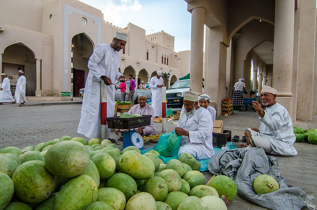 Selling watermelons at Nizwa market