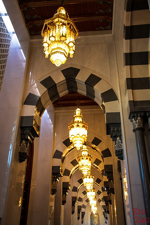 Men prayer room at Sultan Qaboos Grand Mosque Muscat Oman 3