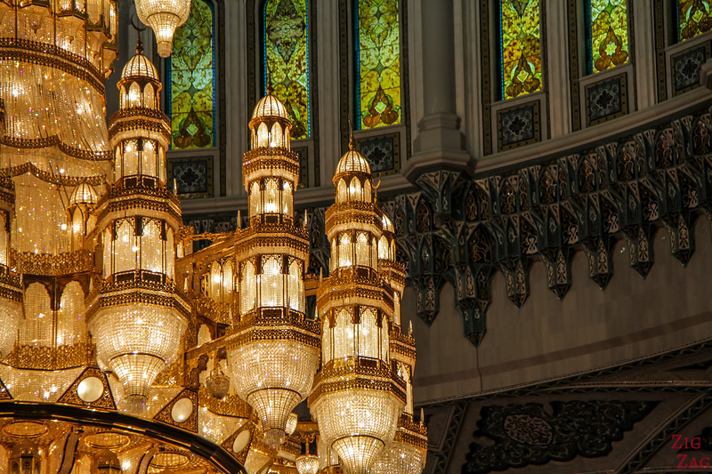 Chandelier at Sultan Qaboos Grand Mosque Muscat Oman 5