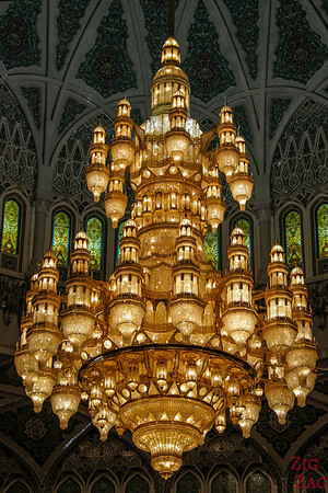 Chandelier at Sultan Qaboos Grand Mosque Muscat Oman 2