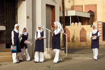 Schoolkids waiting for the bus