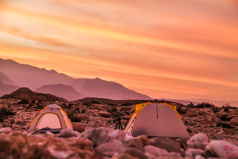 Sunset over camp tents Oman 2