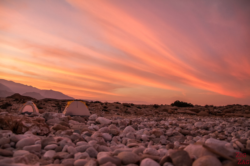 Sunset over camp tents Oman