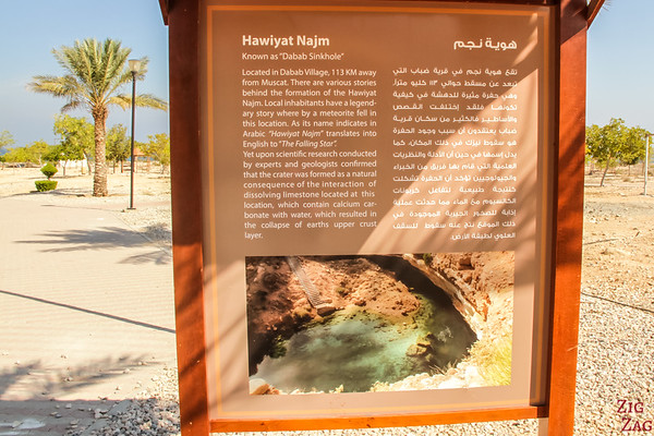 Informative Sign at the SinkHole park, Oman