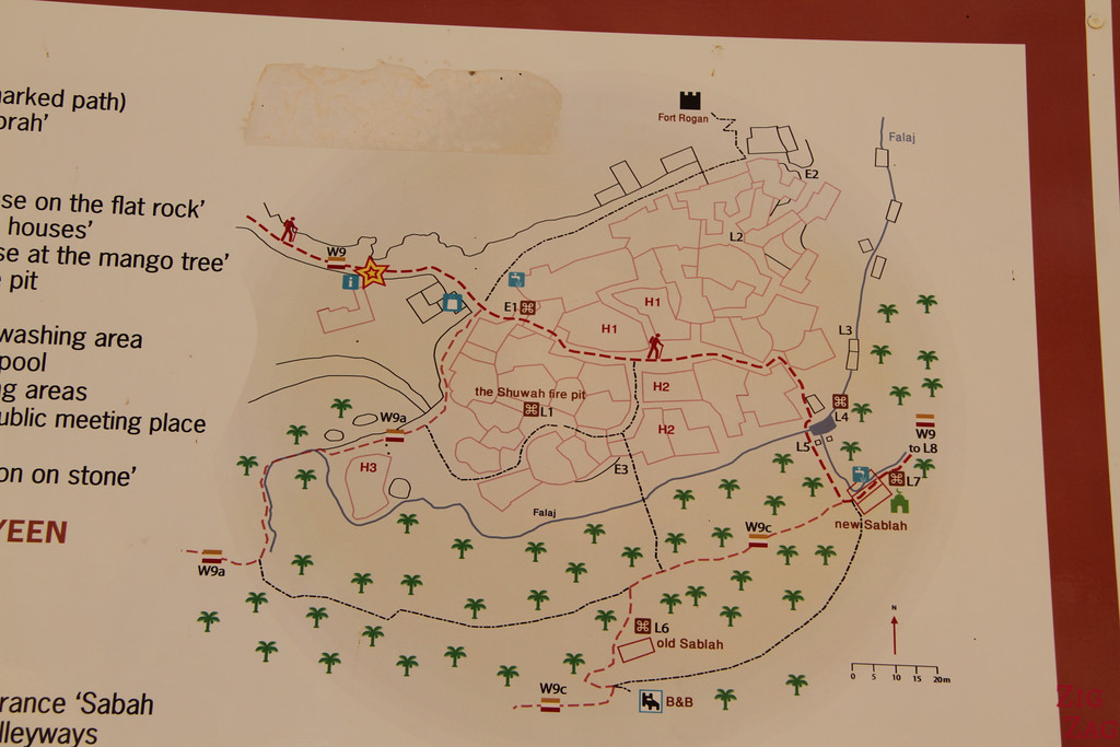 Hiking map Misfat Al Abriyeen