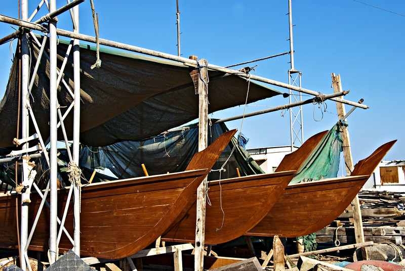 Dhows, boat yard, Sur