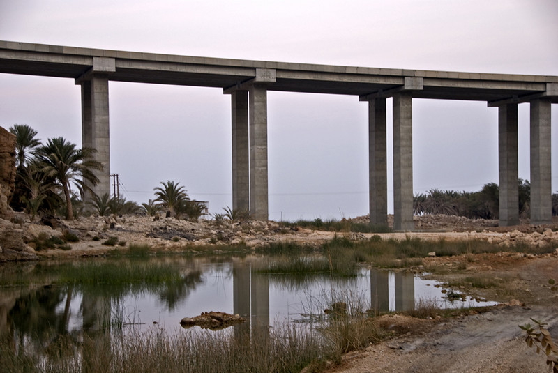 Highway bridge over the mouth of Wadi Shaab.