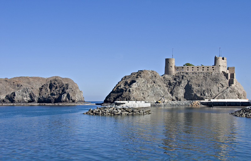 One of two forts guarding the entrance to the harbor in Muscat.