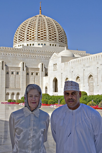 Carolyn and Idriis at the Grand Mosque.