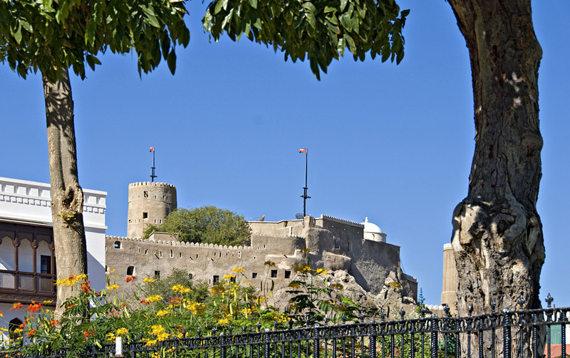 The palace is surrounded on three sides by mountains, on which are a series of five 16th and 17th century forts and watch towers. This is Fort Mirani, now home to His Majesty's Royal Guards.