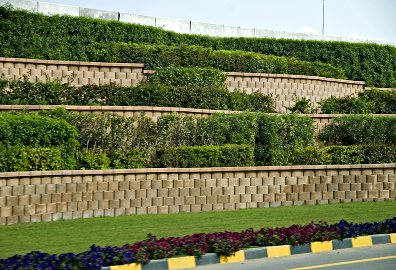 Retaining wall and plantings along the Sultan Qaboos Highway, Muscat.