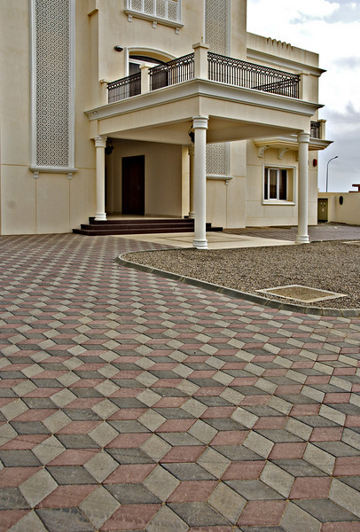 Tile pattern in courtyard, private home, Sur