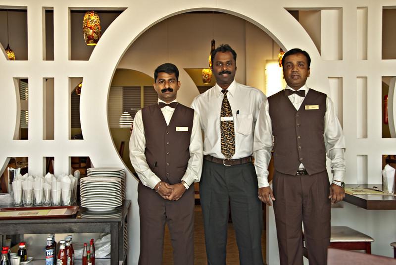 Manager and waiters, Omar Al Khayyam Restaurant, close to the farm, Seeb.