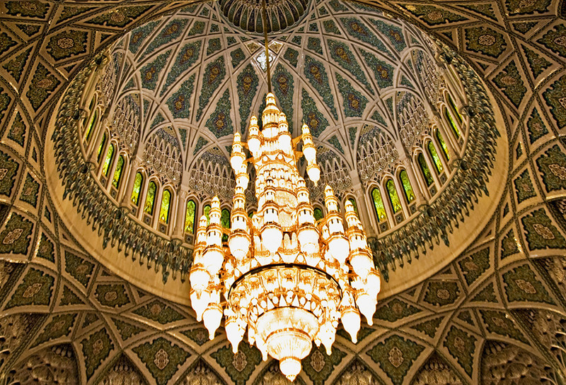 A huge chandelier is suspended in the center of the dome of the Grand Mosque.