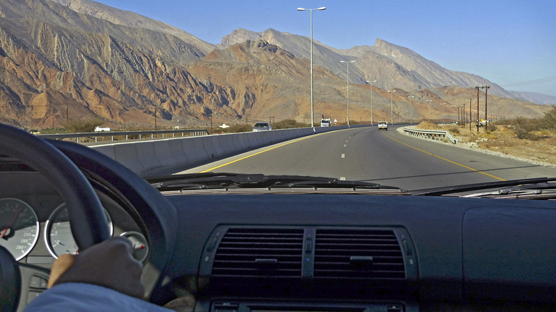 This modern highway to the ancient Omani capital of Niswa runs along the wadis, or valleys between ranges of mountains.