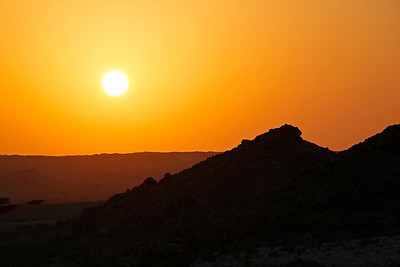 Sunset in the desert, Huqf area, south central Oman.