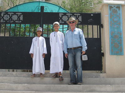 Colin with Saud and Abdulla outside Balad Sayt school
