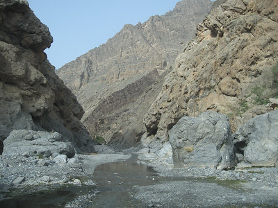 This is one of several points on the road where the road follows the bed of the wadi.  If its starts raining you'd get out of here pronto as flash flooding is frequent. People are still drowned when they ignore the signs and are hit by a wall of water as it rushes through the wadi from the hills.
