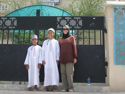 With Saud and Abdulla outside their school in Balad Sayt.