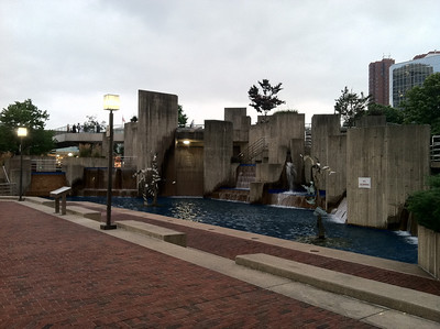 Fountains in Baltimore's Inner Harbor