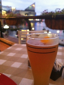 Enjoying a Blue Moon on a clear evening at the Baltimore Inner Harbor