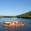 Pelly River Ferry --<br /> The ferry across the Pelly River carrying a double-tanker, taken from the fun bridge