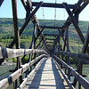 Crooked Footbridge --<br /> A nice old, crooked footbridge across the Pelly River