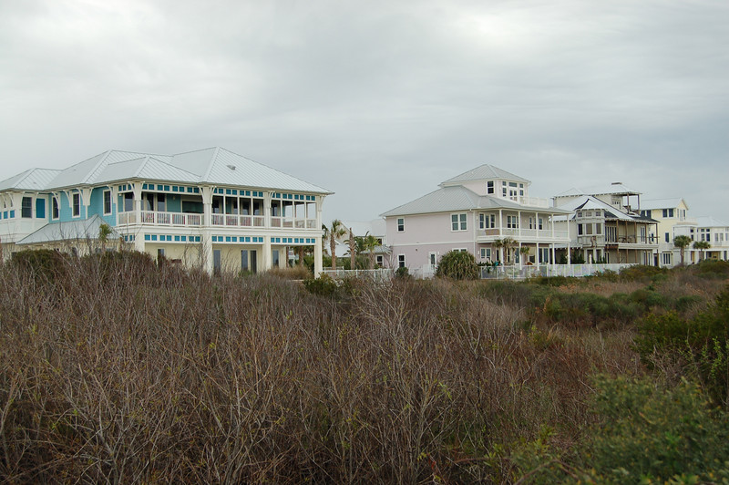 Houses built  right up to the dunes