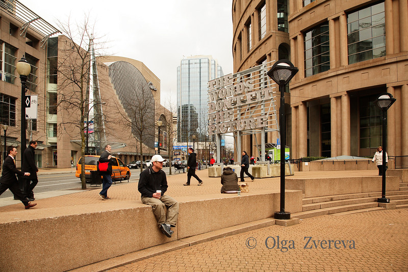 """<p>""""The words don't fit the picture"""". Street scene at the time of Winter Olympic in Vancouver, British Columbia, Canada</p>"""