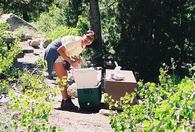 7/8/00 Elaine at bear box, campsite #18, Onion Valley Campground