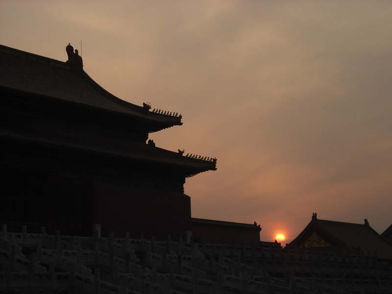 sunset in the forbidden city