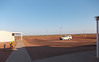 The car park in front of the camp. Here one can see how flat the Pilbara region is and a complete lack of trees.