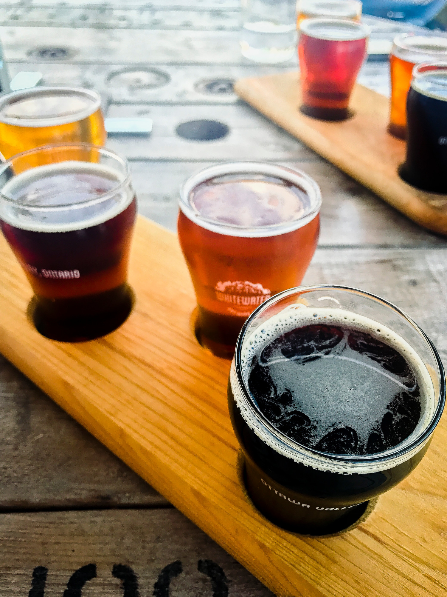 Whitewater Brewing Co flight of beer. Just one stop on the Ottawa Valley Maple Adventures tour.