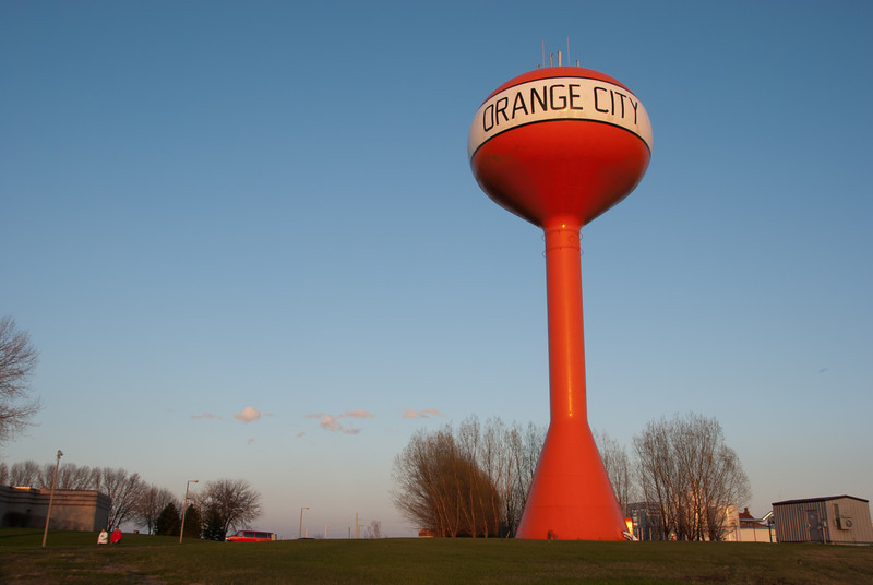 """<span id=""""title"""">Water Tower 2</span> So yeah, there are two bright orange water towers in Orange City. This one's even labeled!"""