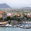 A view of the town and the marina from the port of Oranjestad in the Caribbean island of Aruba.