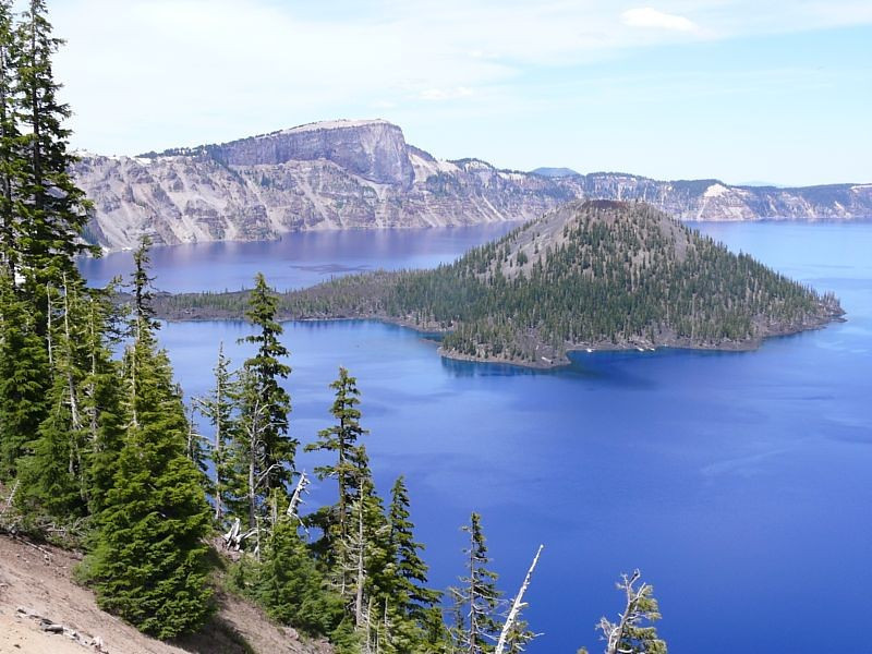 Wizard Island sits to one side of Crater Lake. The Park Service runs a shuttle boat out so that you can hike on the island.