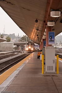 Southbound Surfliner coming into Union Station