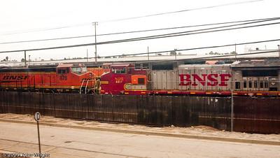 Burlington Northern Santa Fe locomotives in storage due to the economy