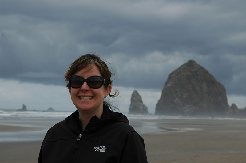 Sherri at Haystack Rock on Cannon Beach