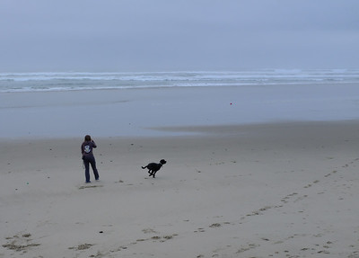 Our usual beach habit  in Yachats.