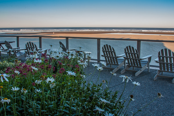 Hotel #4.  Cannon Beach, Oregon.  Land's End guest deck overlooks the beach for people watching and fabulous sunsets.