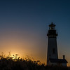 Yaquina Head lighthouse at sunset in September.