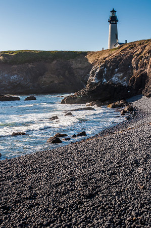 Yaquina Head lighthouse viewed from Black Pebble beach.