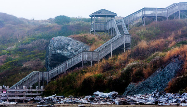 Staircase from the top of Coquille Point to Bandon Beach.